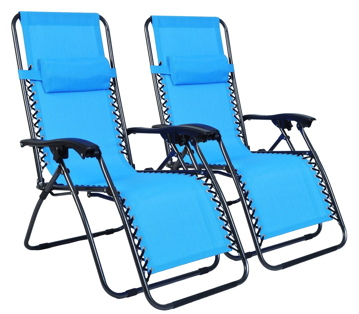 Odaof Zero Gravity Recliner Lounge Patio Pool Chair - 2 PACK (Light Blue)