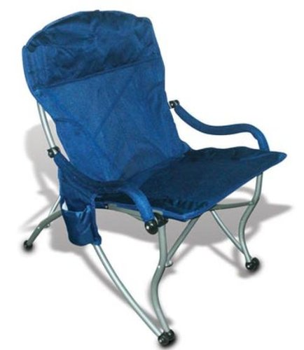Folding Camp Chair with Sturdy Arms for Easy In/Out, 300lbs, Mesh, Blue
