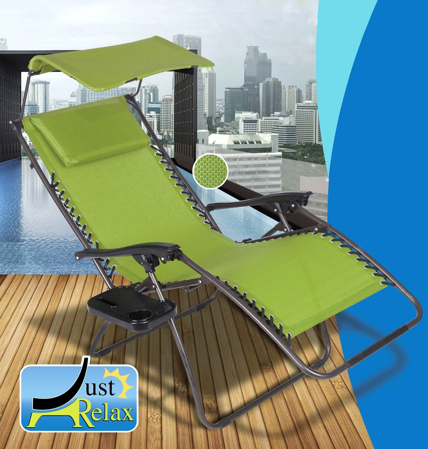 Just Relax Zero Gravity Chair with Pillow, Canopy, and Clip-On Table (Green)